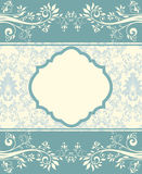 Blue floral invitation card Royalty Free Stock Photo