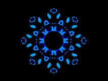 Blue Floral Mandala. An abstract blue illustration that is a mandala made of floral components stock illustration
