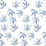 Blue floral motif vector illustration. Tropical leaves seamless pattern on white background. hand drawn naive style natural design Stock Photo