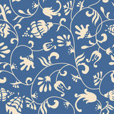 Blue floral ornament. Original floral pattern blue and beige background Stock Images