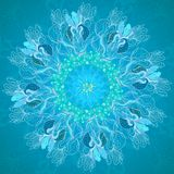 Blue floral ornament mandala background card Stock Photo
