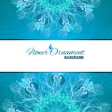 Blue floral ornament mandala background card Stock Photography