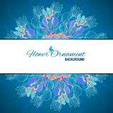 Blue floral ornament mandala background card Stock Images