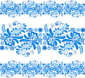 Blue floral ornament in Russian gzhel style Royalty Free Stock Image