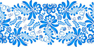 Blue floral ornament in Russian gzhel style Stock Images