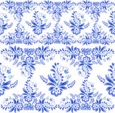 Blue floral ornament in Russian gzhel style Royalty Free Stock Images