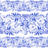 Blue floral ornament in Russian gzhel style Stock Photography