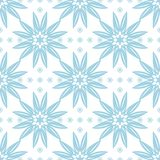 Blue floral ornament on white background. Seamless pattern. Blue floral seamless pattern on white background. Seamless design for textile and wallpapers Stock Photography