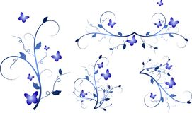 Blue floral ornaments Royalty Free Stock Photo