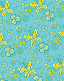 Blue floral pattern. Yellow flowers and butterfly Royalty Free Stock Photography