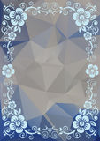 Blue floral pattern. Abstract floral border on a blue polygonal background Royalty Free Stock Images