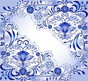 Blue floral pattern with empty space. Ornate decorated background with flowers and leaves. Design in the style of ethnic painting. On porcelain. Vector stock illustration