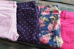 Blue floral pattern pants. Stock Image