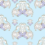 Blue floral pattern purple seamless. vector illustration Stock Photography