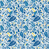 Blue floral pattern. Seamless pattern made of floral ornaments Royalty Free Stock Photo