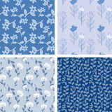 Blue floral patterns Stock Photo