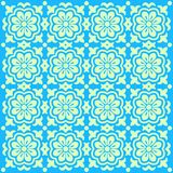 Blue floral patterns. Green flower patterns on a blue background Stock Photos