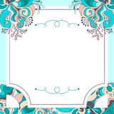 Blue floral postcard. Creative card with floral ornament Stock Photo