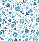 Blue floral print pattern Royalty Free Stock Images