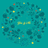 Blue floral ring. You and me Royalty Free Stock Images