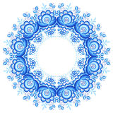 Blue floral round frame in gzhel style Stock Image