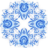 Blue floral round frame in gzhel style Stock Images