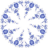 Blue floral round frame in gzhel style Royalty Free Stock Photos