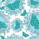 Blue Floral Seamless Background with Butterflies Royalty Free Stock Photography