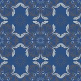Blue floral seamless background. Design pattern with flower elements. For wallpapers, textile and fabrics Stock Photos