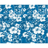 Blue floral seamless background with hibiscus flowers vector illustration