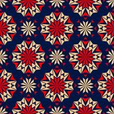 Blue floral seamless background with red and beige pattern. Background for wallpapers, textile and fabrics Royalty Free Stock Photos