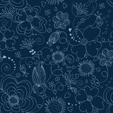 Blue floral seamless pattern. Floral seamless pattern on a dark blue background Stock Illustration