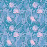 Blue floral seamless pattern. Calm seamless pattern with blue flowers Royalty Free Stock Images