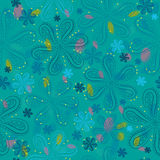 Blue floral seamless pattern stock photography