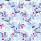 Blue floral seamless pattern with leaves and berries. Floral seamless pattern. Watercolor leaves royalty free illustration