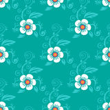 Blue floral seamless pattern Stock Photo
