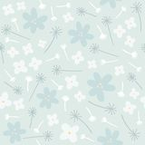 Blue floral seamless pattern. Vector EPS10 hand drawn floral seamless pattern stock illustration
