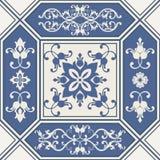 Blue floral seamless tile vector illustration