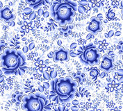 Blue floral textile vector seamless pattern Royalty Free Stock Photos