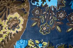 Blue floral texture fabric Royalty Free Stock Images