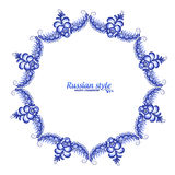 Blue floral vector frame in Russian traditional Gzhel style Royalty Free Stock Photography