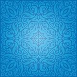 Blue Floral Vintage国王墙纸与装饰花坛场的背景设计 皇族释放例证