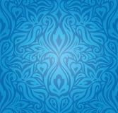 Blue Floral Vintage国王墙纸与装饰花的背景设计 皇族释放例证