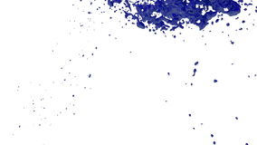 Blue flow liquid like paint moves in slow motion . 3d render fluid cg slow motion with alpha matte, full hd. Simulated stock video footage