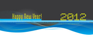 Blue flow shapes and lines with Happy New Year Stock Image