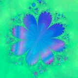 Blue Flower. Computer generated fractal of a blue flower on a soft focus flowered green background Stock Photos