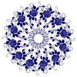 Blue flower. Decorative blue flower with vintage round patterns Royalty Free Stock Photo