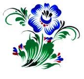 Blue flower. Floral design, russian folk style, scan of original drawing (I'm creator of original design vector illustration