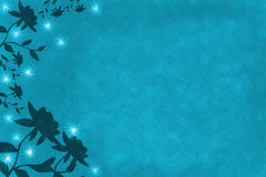 Blue Flower Abstract Background. Blue Abstract Background with flowers on left edge Stock Illustration