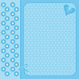 Blue flower background with heart and bow Stock Photo